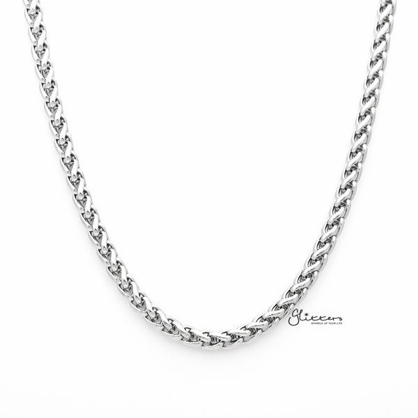 Stainless Steel Braided Wheat Chain Men's Necklaces - 5mm width | 61cm length-Glitters-New Zealand