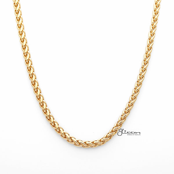 18K Gold I.P Stainless Steel Braided Wheat Chain Men's Necklaces - 5mm width | 61cm length-Glitters-New Zealand