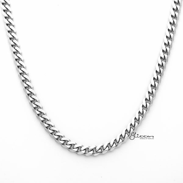 Stainless Steel Beveled Cuban Chain Men's Necklaces - 5.5mm width | 61cm length-Glitters-New Zealand