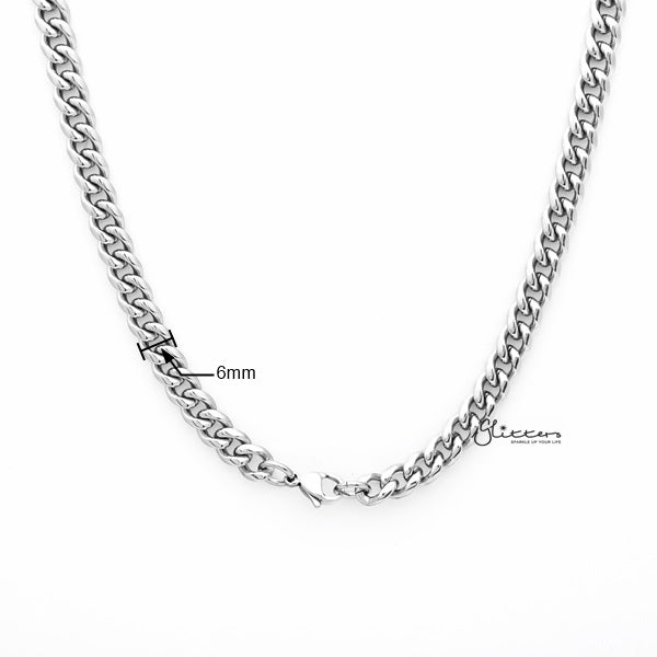 Stainless Steel Miami Cuban Curb Chain Men's Necklaces - 6mm width | 61cm length-Glitters-New Zealand