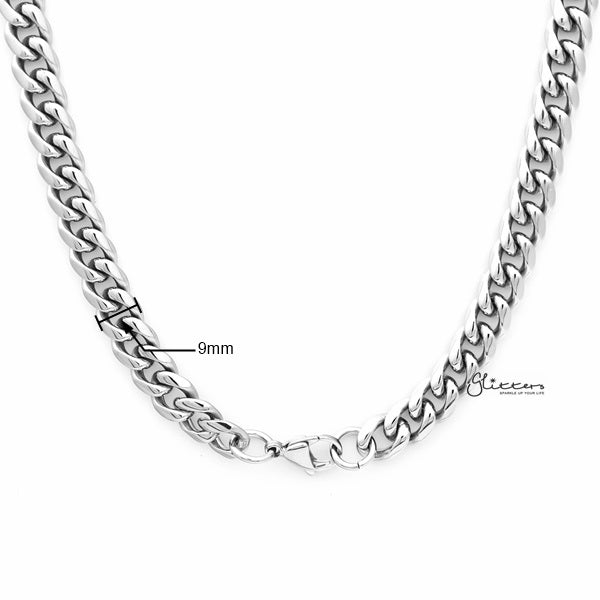 Stainless Steel Miami Cuban Curb Chain Men's Necklaces - 9mm width | 61cm length-Glitters-New Zealand