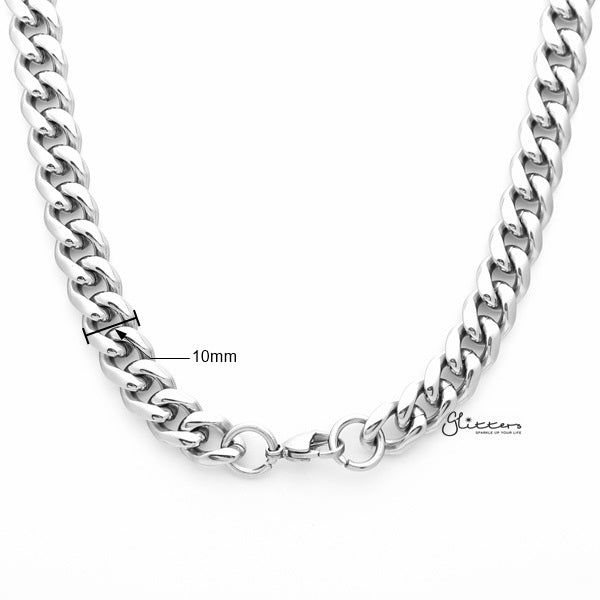 Stainless Steel Miami Cuban Curb Chain Men's Necklaces - 10mm width | 61cm length-Glitters-New Zealand