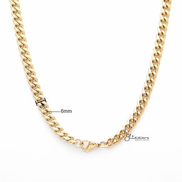 18K Gold I.P Stainless Steel Miami Cuban Curb Chain Men's Necklaces - 6mm width | 61cm length-Glitters-New Zealand