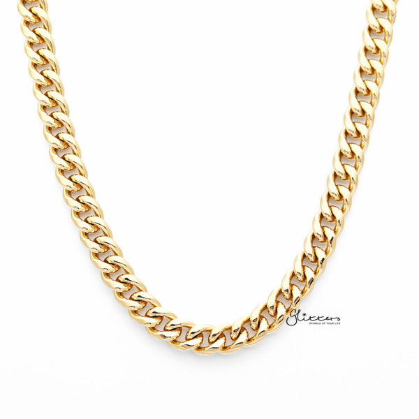 18K Gold I.P Stainless Steel Miami Cuban Curb Chain Men's Necklaces - 8.5mm width | 61cm length-Glitters-New Zealand