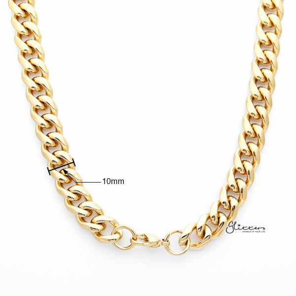 18K Gold I.P Stainless Steel Miami Cuban Curb Chain Men's Necklaces - 10mm width | 61cm length-Glitters-New Zealand