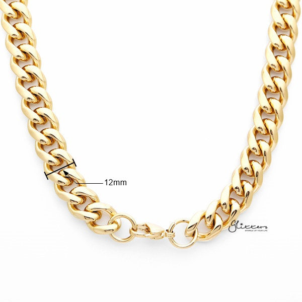 18K Gold I.P Stainless Steel Miami Cuban Curb Chain Men's Necklaces - 12mm width | 61cm length-Glitters-New Zealand