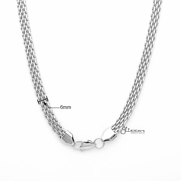 Stainless Steel Multi Link Chain Men's Necklaces - 6mm width | 61cm length-Glitters-New Zealand