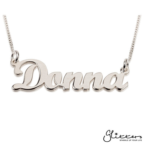 Personalized Sterling Silver Name Necklace-Script 5-Glitters