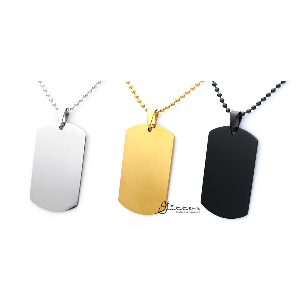 Stainless Steel Dog Tag Necklaces - Engravable- Silver | Gold | Black-Glitters-New Zealand