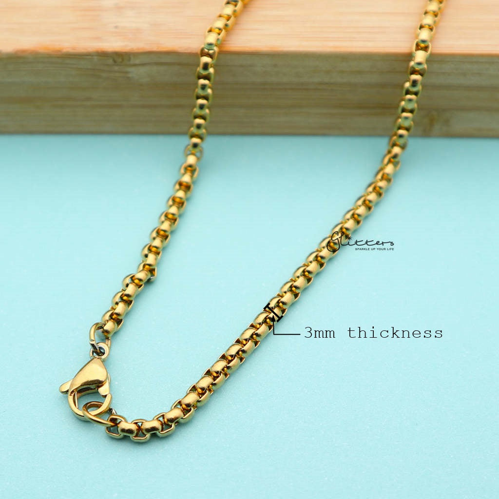 Men's Gold I.P Stainless Steel Classic Rolo Cable Chain Necklaces - 3mm width | 61cm length-Glitters-New Zealand