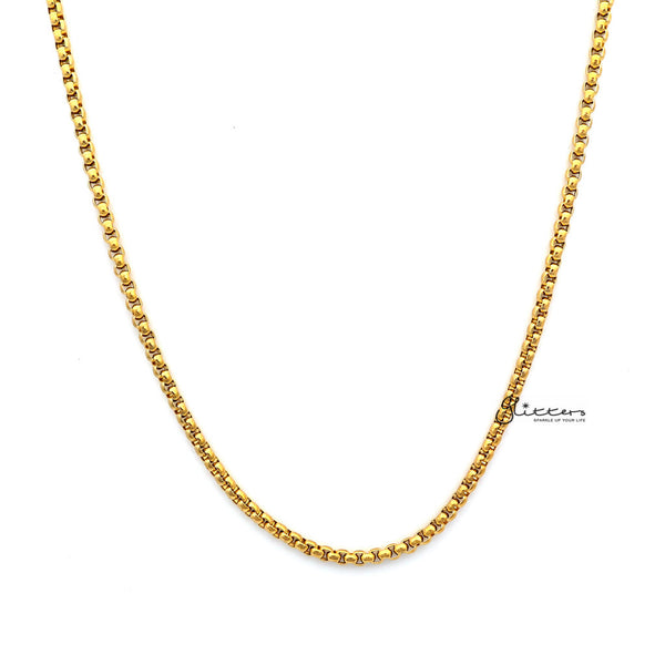 Men's Gold I.P Stainless Steel Classic Rolo Cable Chain Necklaces - 3mm width | 61cm length