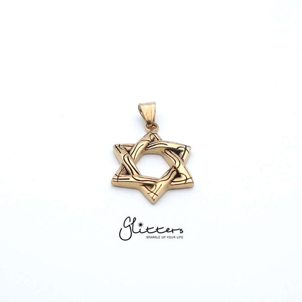 Men's Star of David Stainless Steel Pendant Necklace-18K Gold Ion Plated