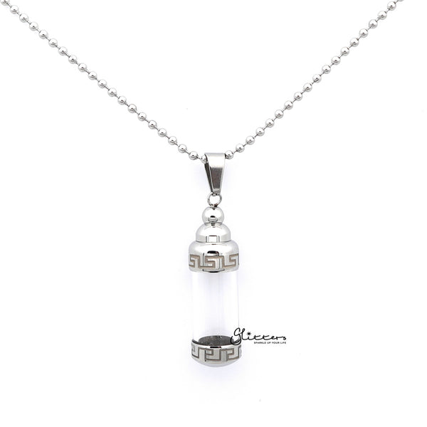 Men's Stainless Steel Screw On Glass Bottle Pendant with Greek Pattern Necklace
