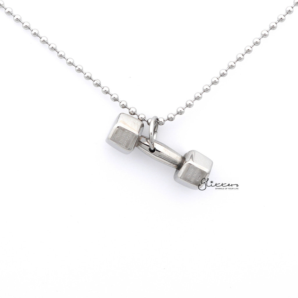 Men's Stainless Steel Fitness Dumbbell Pendant Necklace-Glitters-New Zealand