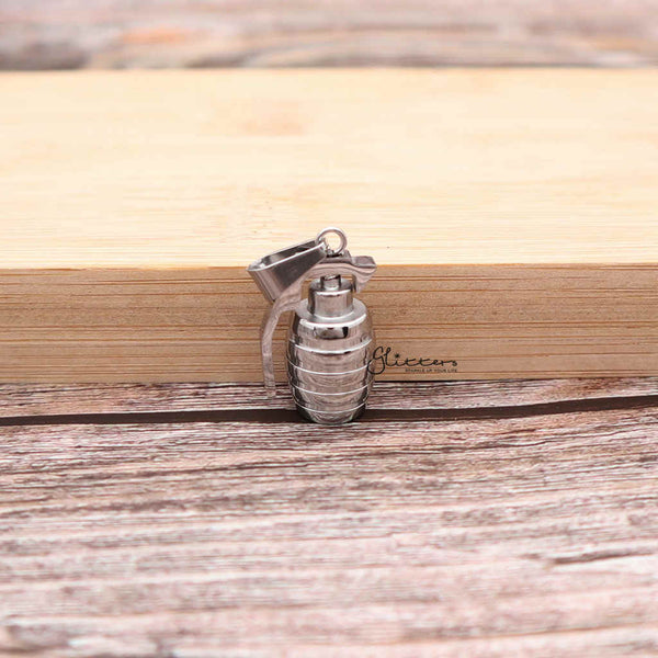 Men's Stainless Steel Grenade Pendant Necklace