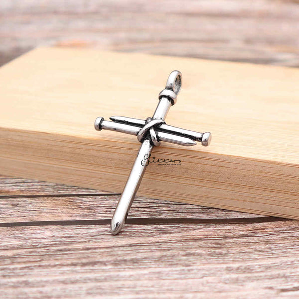 Men's Stainless Steel Nail Rope Cross Pendant Necklace