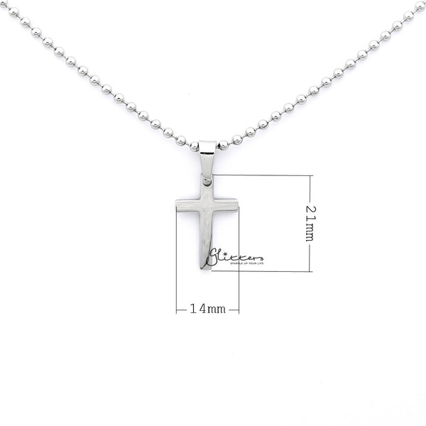 Stainless Steel Plain Small Cross Necklaces - Silver | Gold | Black