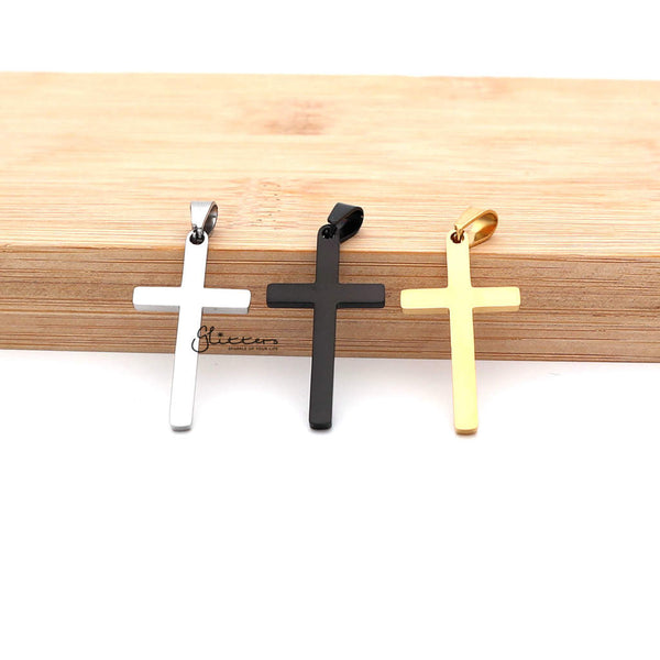 Stainless Steel Plain Medium Cross Necklaces - Silver | Gold | Black