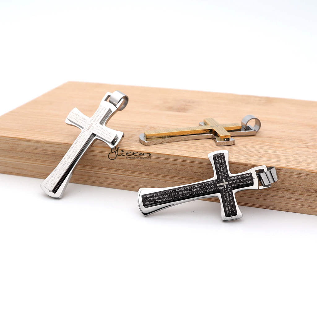 Stainless Steel Double Layer Cross Pendant Necklaces - Silver | Gold | Black-Glitters-New Zealand