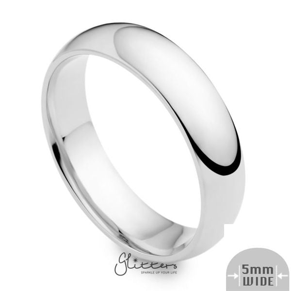 Stainless Steel 5mm Wide Glossy Mirror Polished Plain Band Ring-Glitters-New Zealand