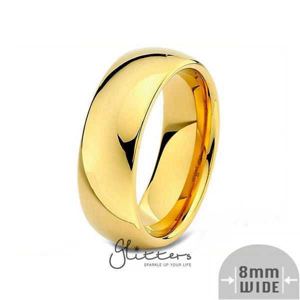 24K Gold Ion Plated over Stainless Steel 8mm Wide Glossy Mirror Polished Plain Band Ring-Glitters-New Zealand