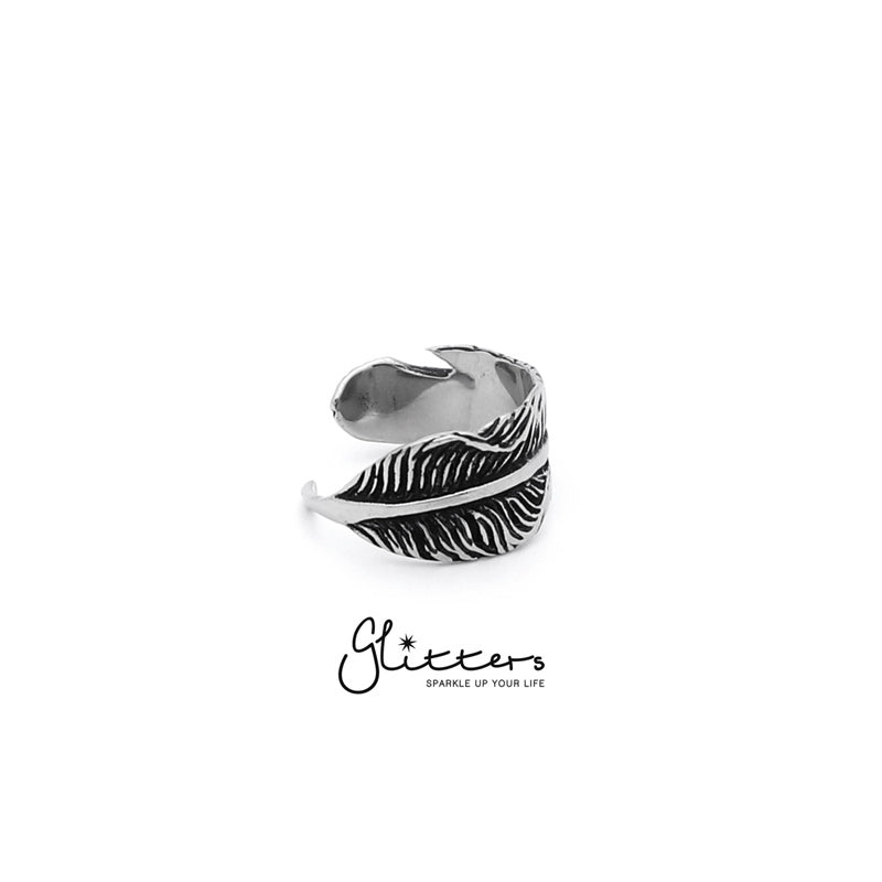 Stainless Steel Feather Cast Ring-Glitters-New Zealand