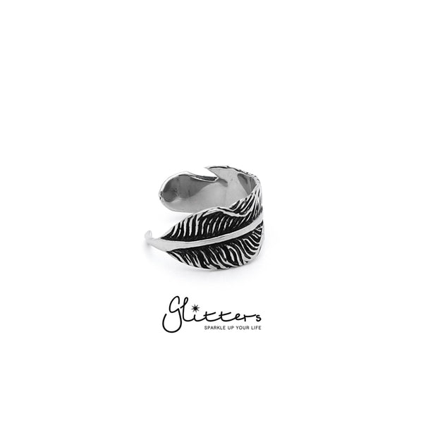 Stainless Steel Feather Cast Ring-Glitters