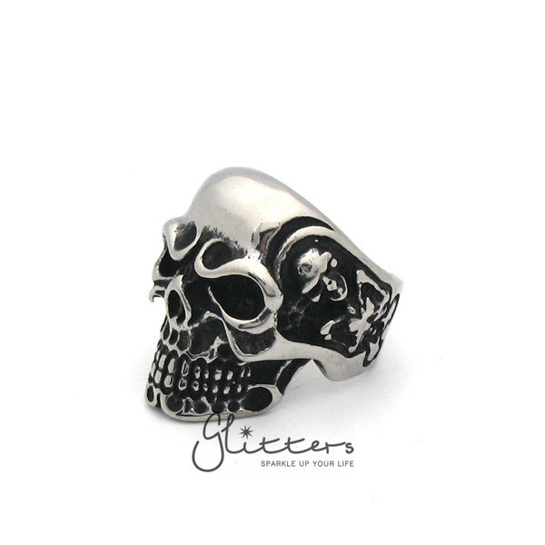 Stainless Steel Gothic Skull Cast Mens Ring-Glitters-New Zealand