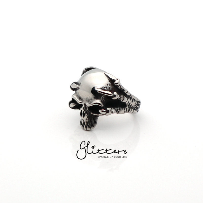 Stainless Steel Skull with Claw Cast Ring-Glitters-New Zealand