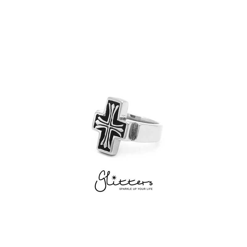 Stainless Steel Cross Cast Ring-Glitters-New Zealand