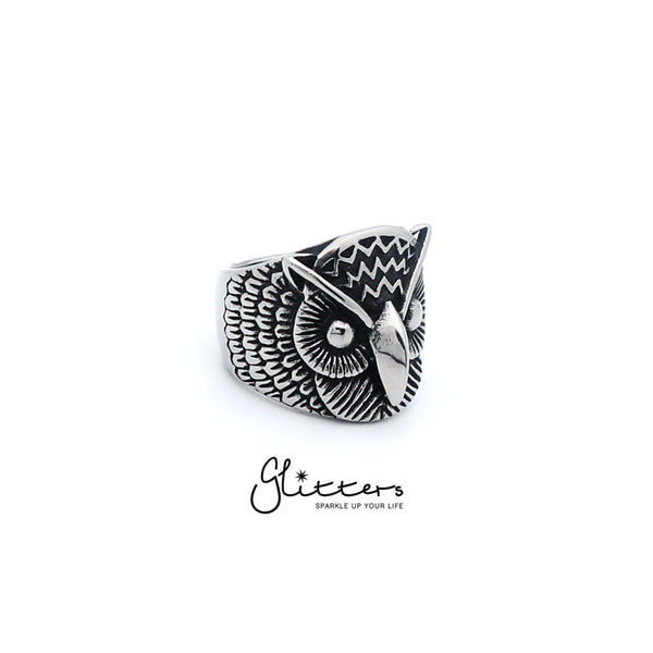Stainless Steel Owl Cast Ring-Glitters-New Zealand