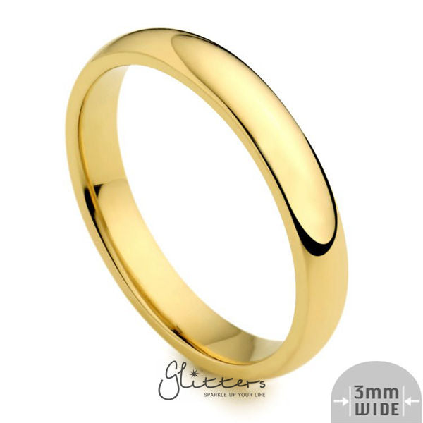 24K Gold Ion Plated over Stainless Steel 3mm Wide Glossy Mirror Polished Plain Band Ring-Glitters