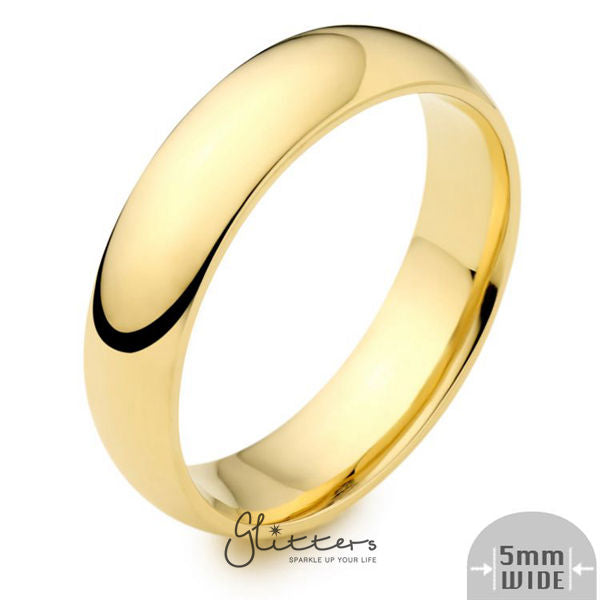 24K Gold Ion Plated over Stainless Steel 5mm Wide Glossy Mirror Polished Plain Band Ring-Glitters