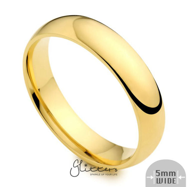24K Gold Ion Plated over Stainless Steel 5mm Wide Glossy Mirror Polished Plain Band Ring-Glitters-New Zealand