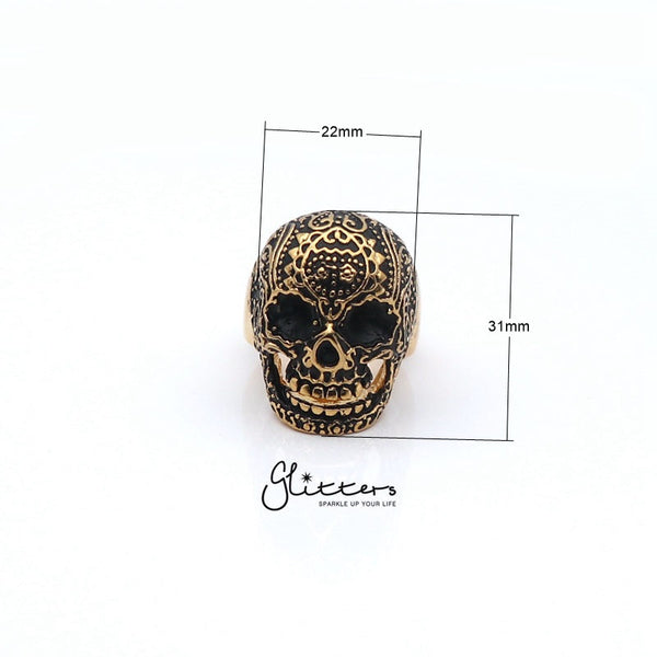 Gold IP Stainless Steel Day of the Dead Skull Cast Ring-Glitters-New Zealand