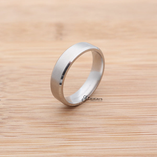 Stainless Steel 6mm Wide Beveled Edge Band Ring - Silver