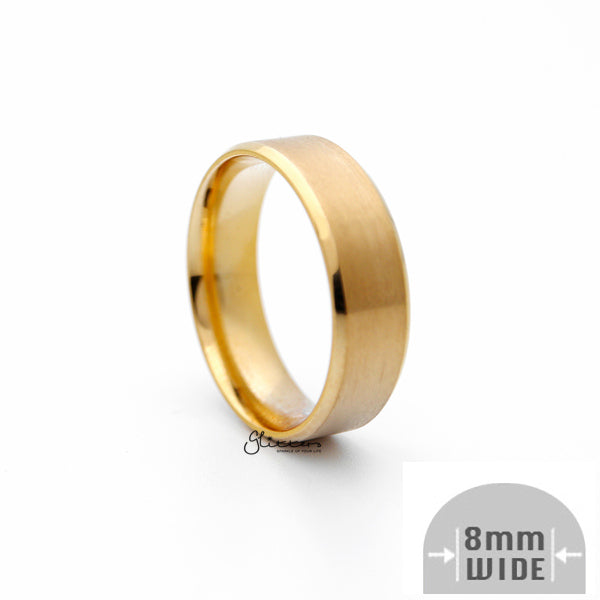 18K Gold Ion-Plated Stainless Steel 8mm Wide Beveled Edge Band Rings-Glitters-New Zealand