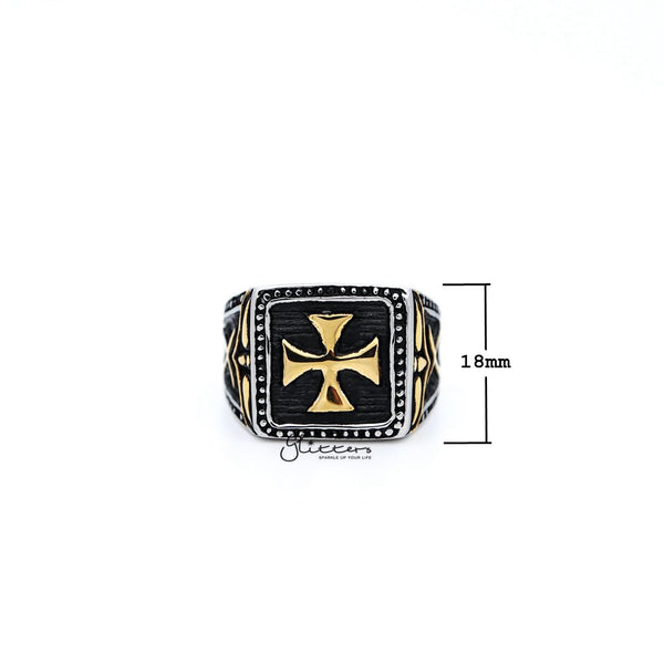 Stainless Steel Antiqued Two Tone Cross Casting Men's Rings