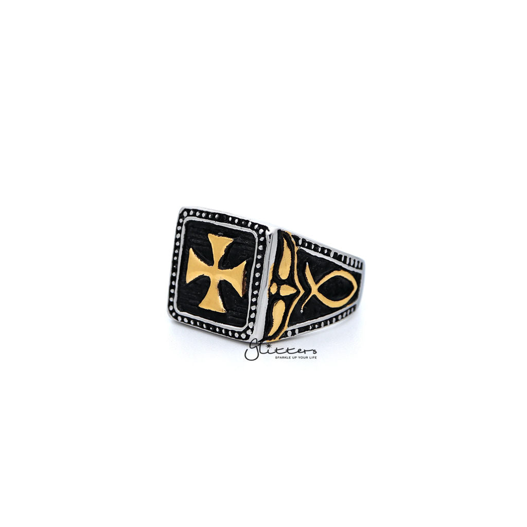 Stainless Steel Antiqued Two Tone Cross Casting Men's Rings-Glitters-New Zealand