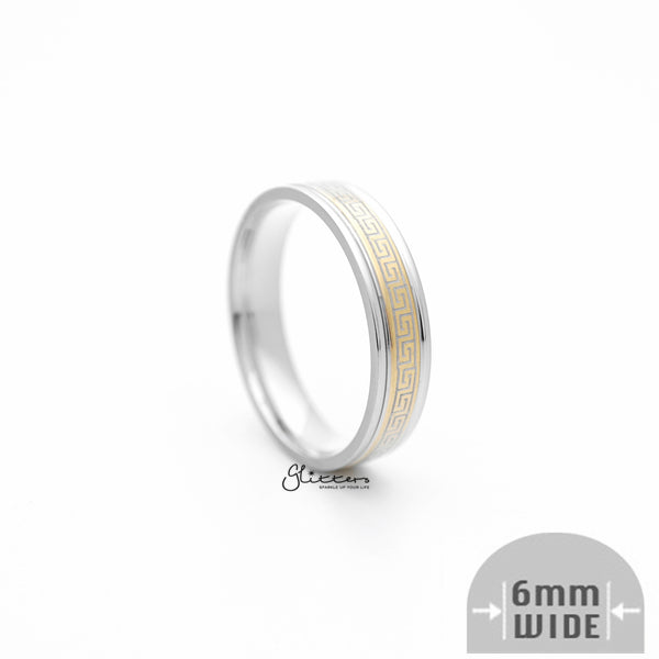 6mm Silver Greek Key on Gold Background Stainless Steel Band Rings-Glitters-New Zealand
