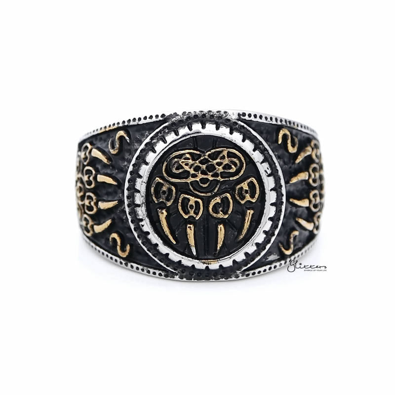 Gold Claws on Black Circle Two Tone Stainless Steel Men's Ring-Ring-Glitters