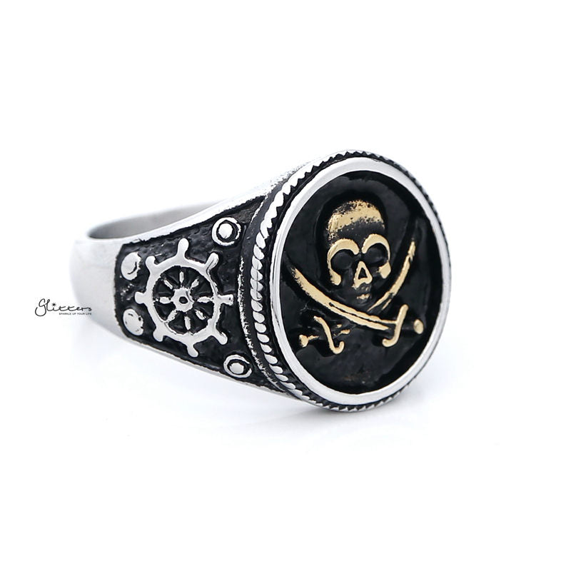Gold Pirate Skull Crossbones Swords Stainless Steel Men's Ring-Ring-Glitters