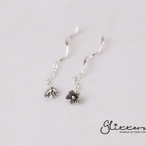 Sterling Silver Flower Ear Threader-Glitters