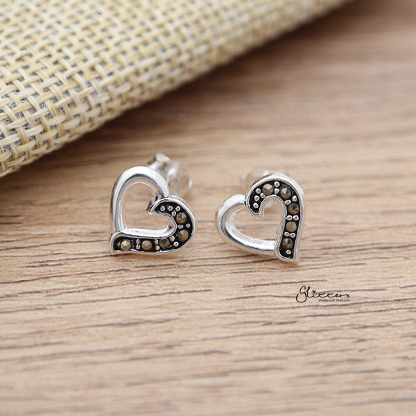 925 Sterling Silver Heart Stud Earrings with Marcasite-Glitters-New Zealand