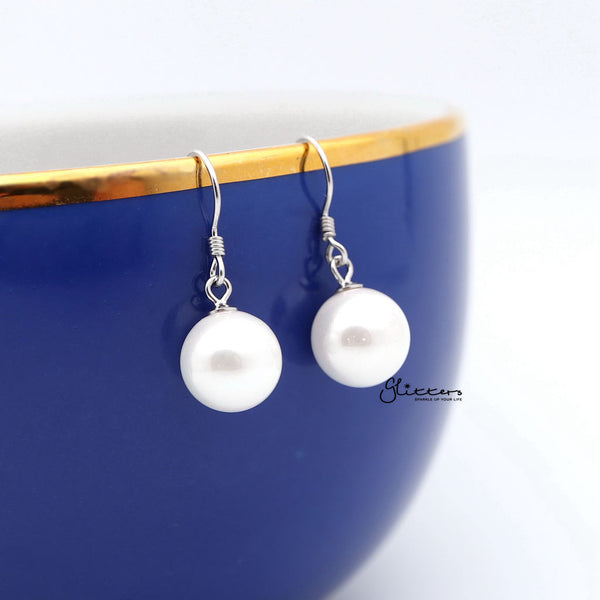 10mm Round Shell Pearl Sterling Silver Hook Dangle Earrings-Glitters-New Zealand