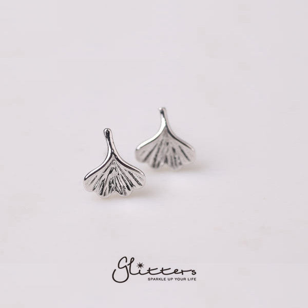 Sterling Silver Small Ginkgo Leaves Stud Earring-Glitters