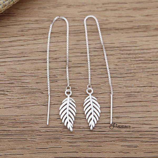 925 Sterling Silver Leaf Long Chain Threader Earrings-Glitters-New Zealand