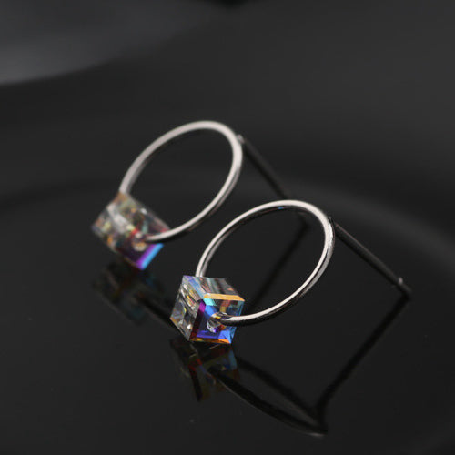 Sterling Silver Hoop with Crystal Cube Earring Stud Earring-Glitters
