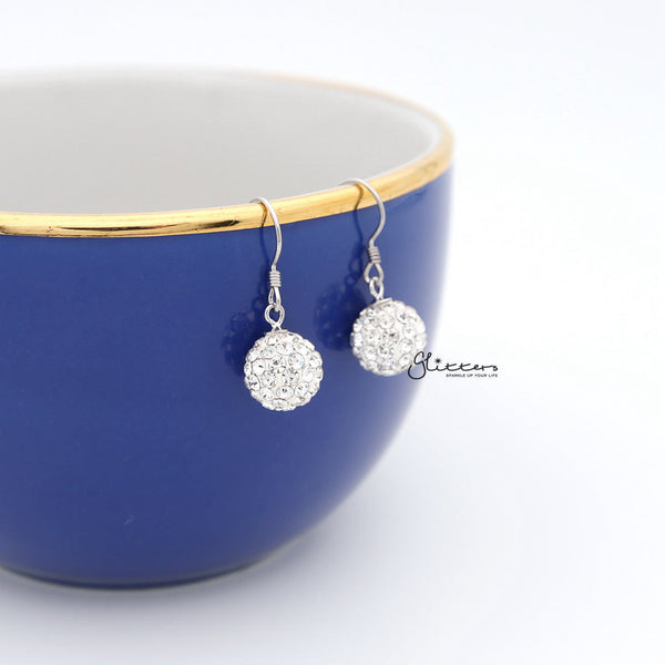 Crystal Ferido Disco Ball with Sterling Silver Hook Dangle Earrings-Glitters-New Zealand