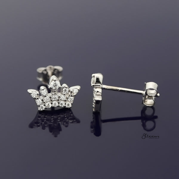 Sterling Silver CZ Paved Crown Stud Earring - Silver-Earrings-Glitters